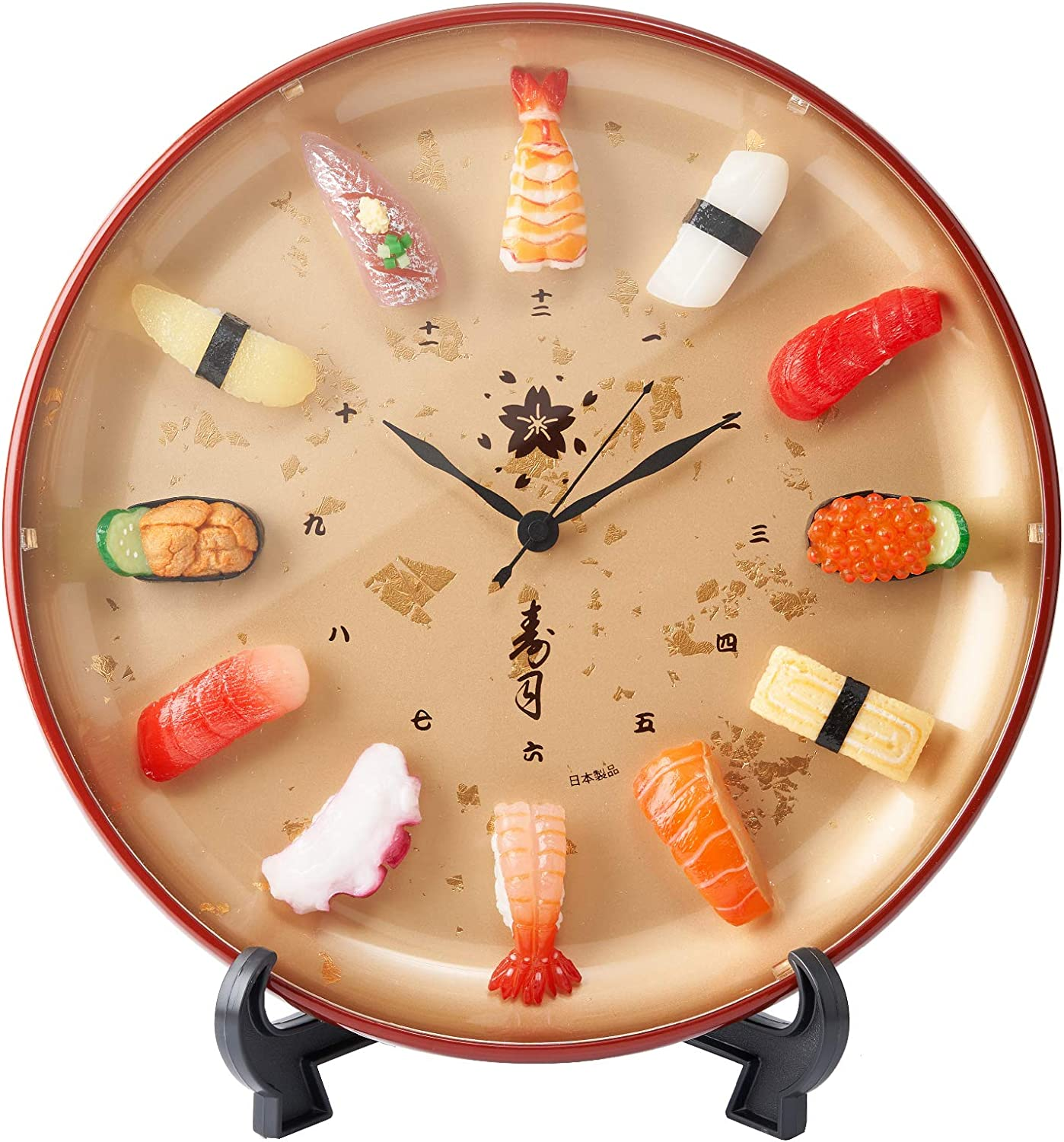 Sushi Clock Premium. Realistic Food Samples Made by Experts. A Great Gift for People who Like Sushi. A Unique Clock with Realistic Sushi replicas. A Japanese Culture Gift. Comes with Box and Stand.