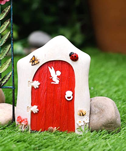 Ebros Gift Enchanted Fairy Garden Miniature Tinker Bell Magical Pixie Red Door Figurine 4.75 H Do It Yourself Ideas for Your Home
