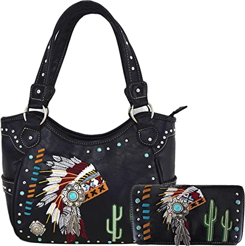 Justin West Native Chieftain Cactus Feather Conceal Carry Shoulder Handbag Purse