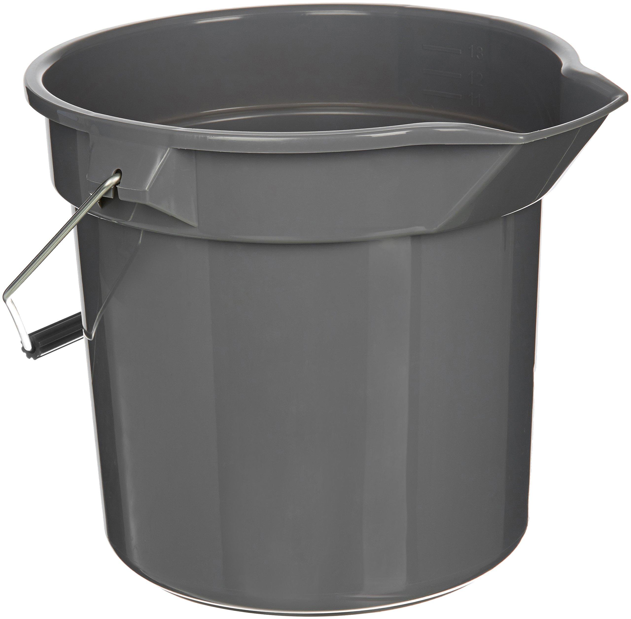 AmazonBasics 14 Quart Plastic Cleaning Bucket, Grey - 6-Pack