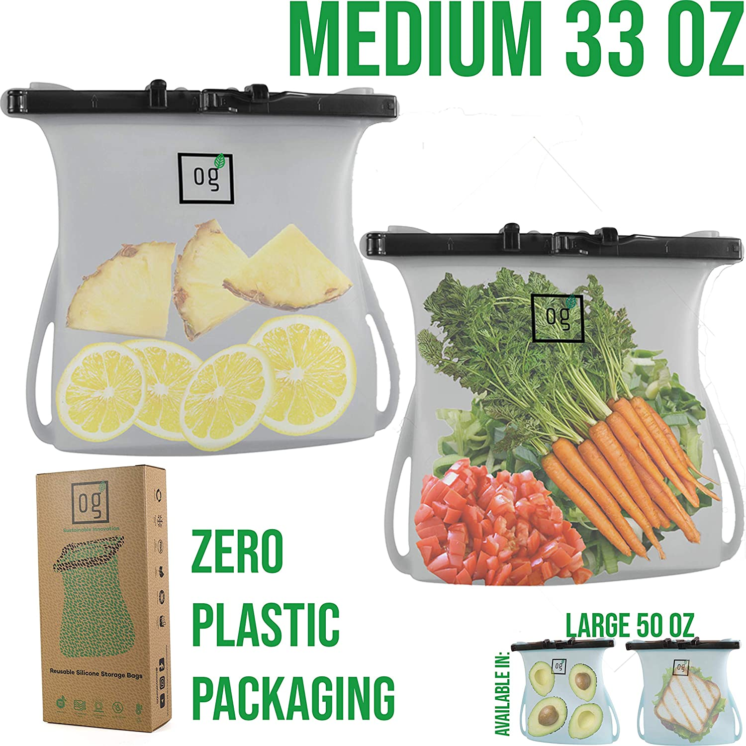 Reusable Silicone Food Storage Bags by Green OG | Perfect for Freezer Storage, Snack Storage | 100% LEAKPROOF Seal + Dishwasher Safe | Premium set of 2 Medium, 33oz, Clear Bags