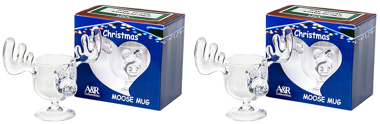 Christmas Eggnog Moose Mugs - Gift Boxed Set of 2 - Safer Than Glass A&R Collectibles Inc. MM2006