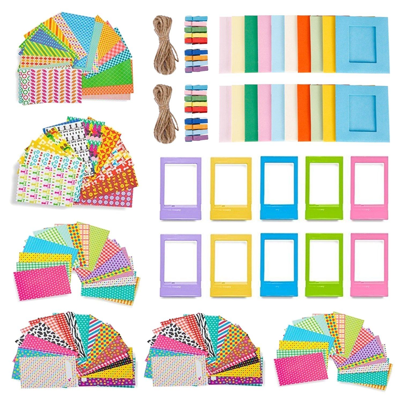Feelones 10 en 1 Coloré Lot d'accessoires pour Fujifilm Instax Mini Mini 8/9/8+/70/7/7s/25/90/50s - Assortis d'autocollant Cadres, Cadre Desk Plastique, des Cadres pour Suspendre au Mur