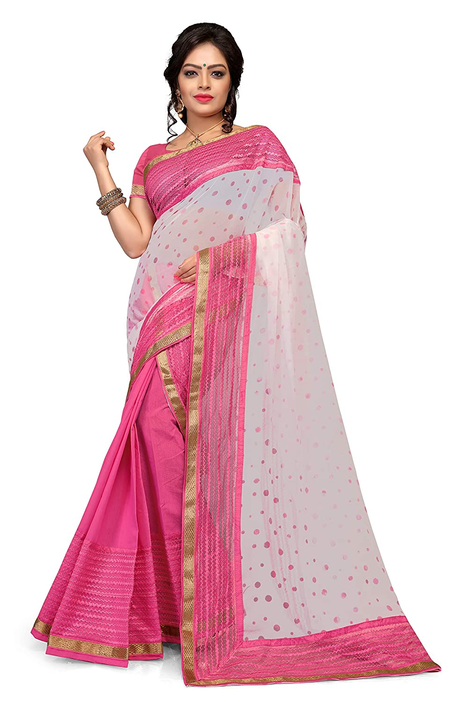 S. Kiran's Assamese Pink Art Cotton Mekhela Printed Siphon Chador Saree - Mekhla Sador - Dn 4