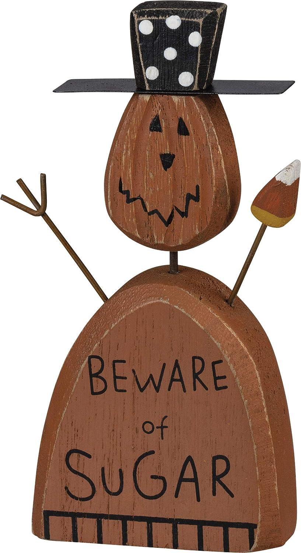 Primitives by Kathy PBK Halloween Decor - Prim Beware of Sugar Chunky Pumkin Sitter