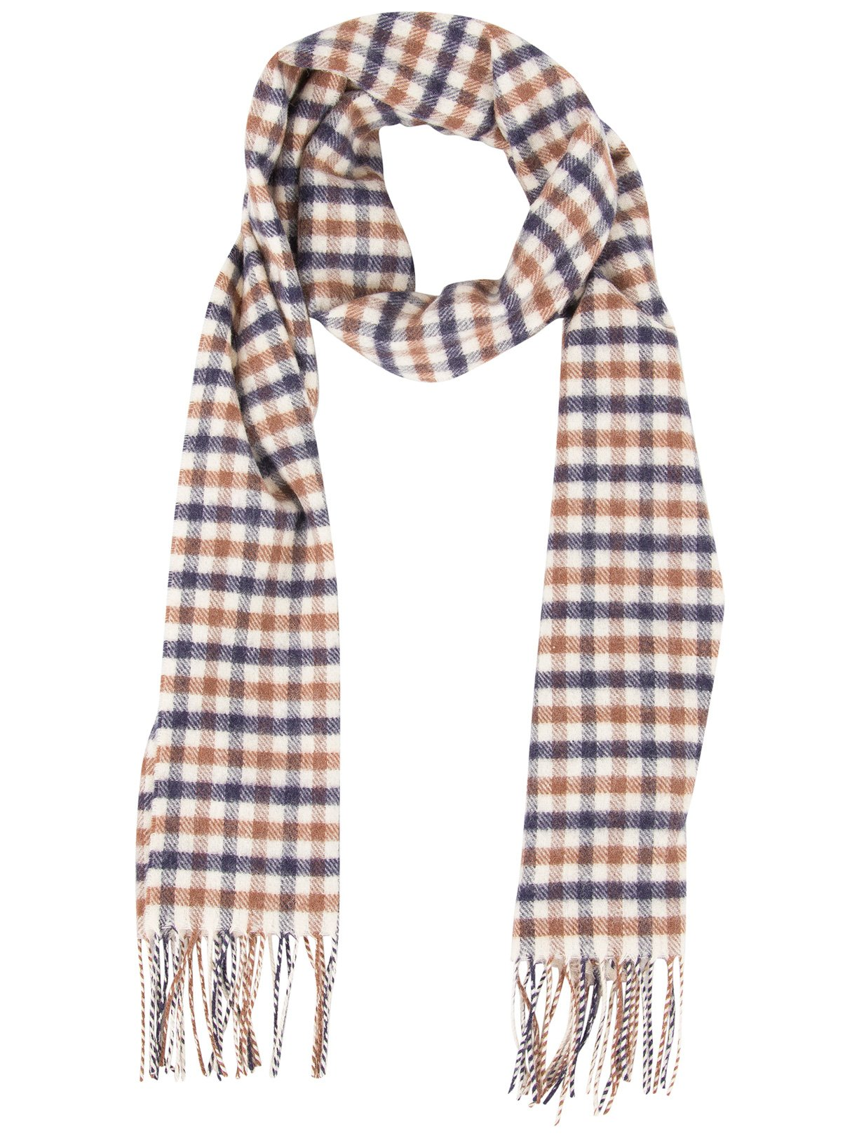 Aquascutum Men's Lambswool CC Checked Scarf, Brown, One Size