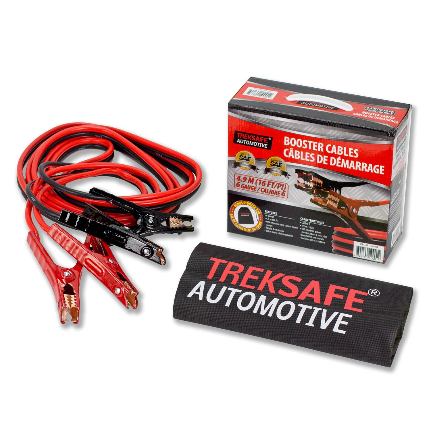 Treksafe 6 Gauge Booster Cables - Heavy Duty, 16 feet with a Storage Bag Treksafe Automotive