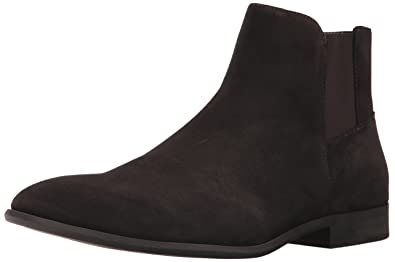 Calvin Klein Men's Larry Calf Suede Ankle Bootie, Dark Brown, ...
