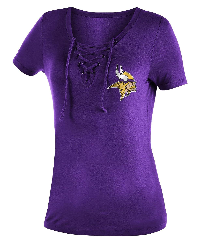 079d5f09c Amazon.com : New Era Minnesota Vikings Women's Logo Lace Up V-Neck T-Shirt  : Sports & Outdoors