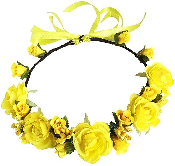 yellow flower crown flower girl crown flower girl wreath Yellow floral crown wedding crown flowered crown flower crown floral wreath