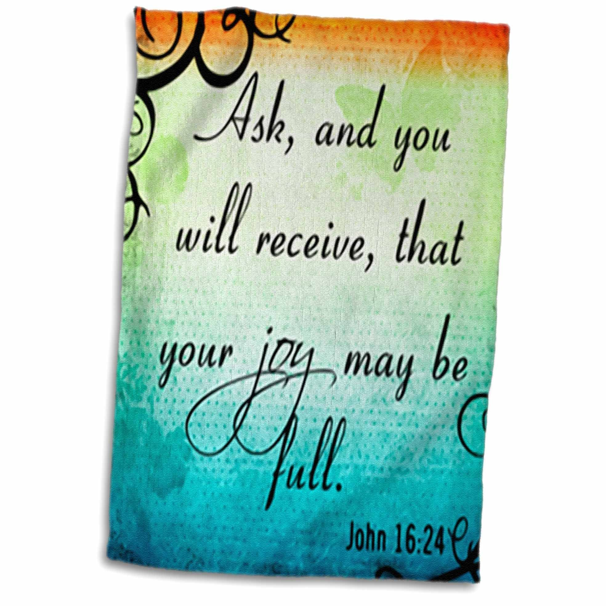 3D Rose Verse John 16-24 Gradient Vibrant Swirl Bible Christian Inspirational Saying Towel, 15'' x 22'', Multicolor