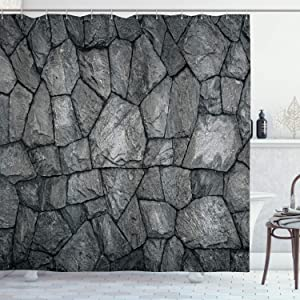 "Ambesonne Grey Shower Curtain, Stone Wall Texture Image Rough Rusty Blocks Obsolete Structure Antique Grunge Weathered, Cloth Fabric Bathroom Decor Set with Hooks, 70"" Long, Grey"