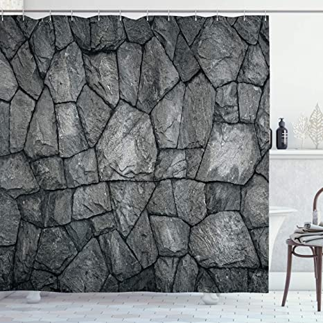 Amazon Com Ambesonne Grey Shower Curtain Stone Wall Texture Image Rough Rusty Blocks Obsolete Structure Antique Grunge Weathered Cloth Fabric Bathroom Decor Set With Hooks 70 Long Grey Home Kitchen