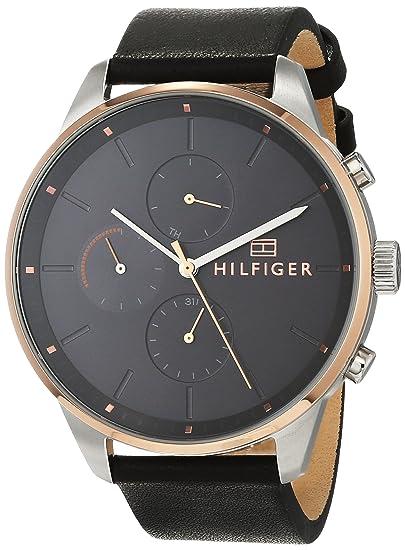 Tommy Hilfiger Reloj Multiesfera para Hombre de Cuarzo con Correa en Cuero 1791488: Amazon.es: Relojes