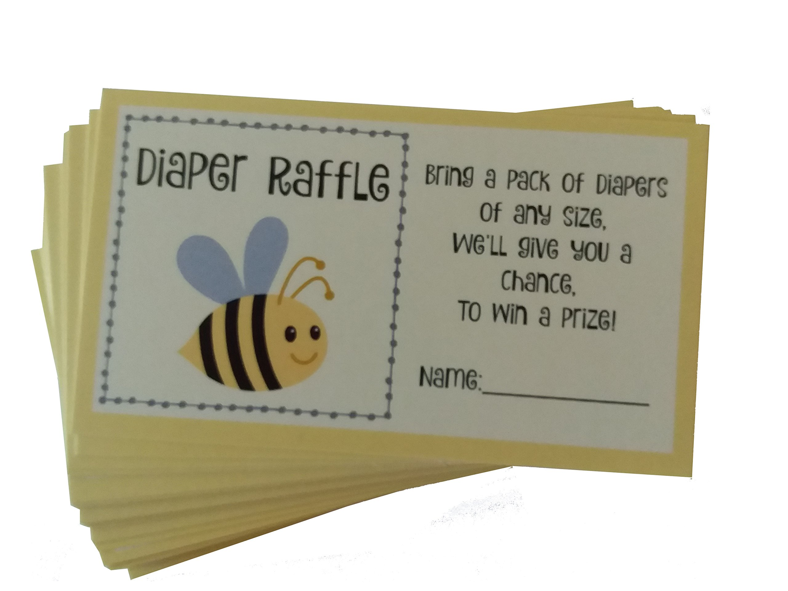 Baby Shower Diaper Raffle Cards with Gender Neutral Bee Theme Set of 50