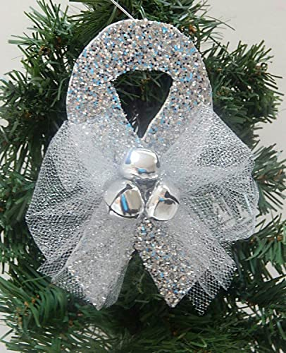 Ribbon On Christmas Tree.Amazon Com Grey Awareness Ribbon Christmas Tree Ornament