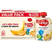 Cerelac Nestle Cerelac Fruits Puree Pouch Banana Orange Biscuit, 90g Pouch (5 Pouches)