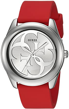 GUESS Red and Silver-Tone Logo Watch