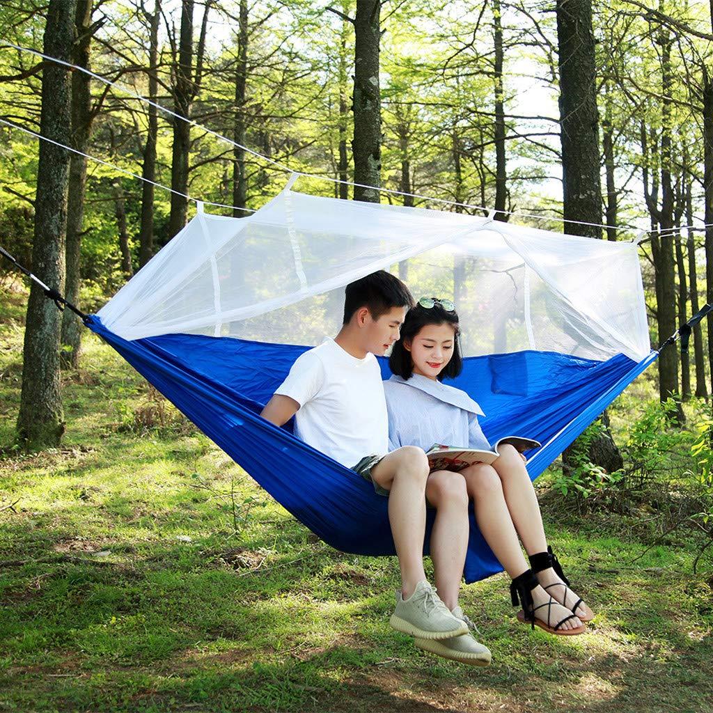 YunZyun キャンピングハンモック 超軽量 旅行 キャンプ ハンモック 内蔵 蚊帳と収納ポーチ 屋内 屋外 バックパッキング サバイバル 旅行  D B07SWZZTFD