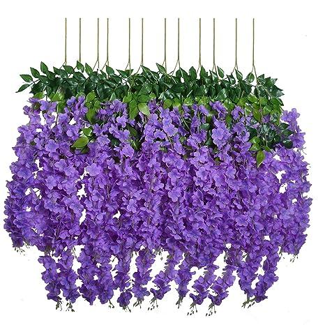 93970f80ff4 U'Artlines 12 Pack 3.6 Feet/Piece Artificial Fake Wisteria Vine Ratta  Hanging Garland Silk Flowers String Home Party Wedding Decor Extra Long and  ...