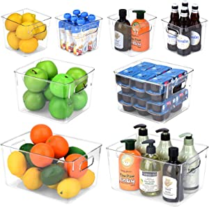Toplife Refrigerator Storage Bins with Handle, Clear Plastic Organizer Container for Kitchen, Pantry, Freezer, Countertops, Cabinets, Office - Set of 8