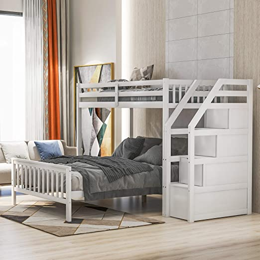 Amazon Com Twin Over Full Loft Bed For Kids Teens And Adults Loft Bunk Bed Frame With 3 Storage Guardrail And Ladder Can Be Separated Into 2 Beds No Box Springs Required White