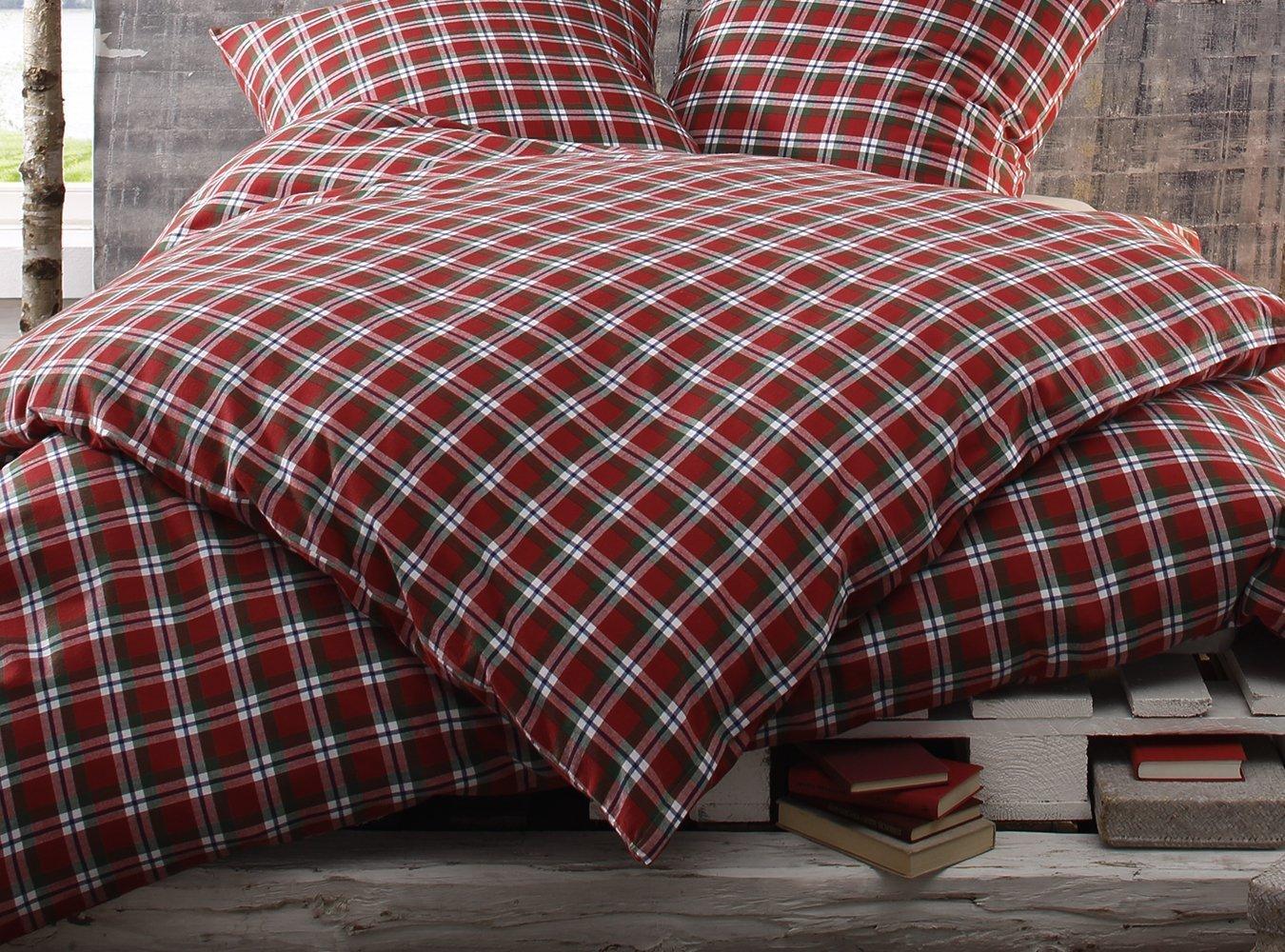Bettwaesche-mit-Stil Warme Fein-Flanell Winter Bettwäsche Toronto Landhaus Karo Rot 200 Grün Weiß Kariert (200 cm x 200 Rot cm + 2 x 80 x 80) 1e86e0
