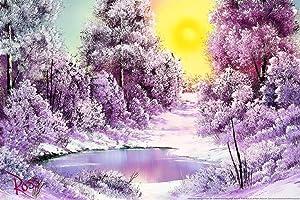 Bob Ross Winter Sun Art Print Canvas Painting Cool Wall Decor Art Print Poster 24x36