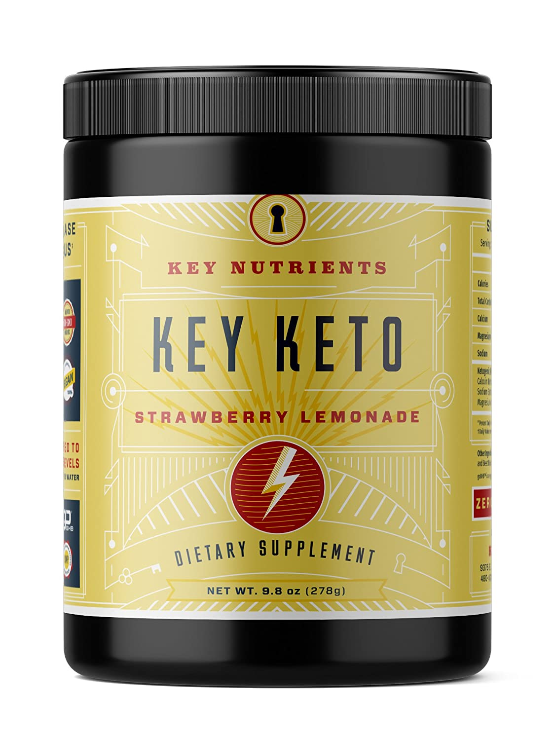 Exogenous Ketone Supplement, KEY KETO Patented BHB Salts Beta-Hydroxybutyrate – Formulated for Ketosis, to Burn Fat, Increase Energy and Focus, Supports a Keto Diet. Strawberry Lemonade 278g 20