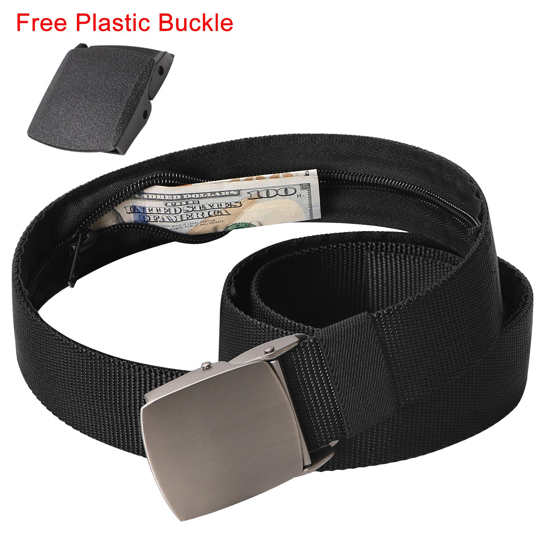 Mens Nylon Belt with Hidden Zipper Pocket, Travel Money Belt Plastic Buckle Free Adjust to Waist 40 inch