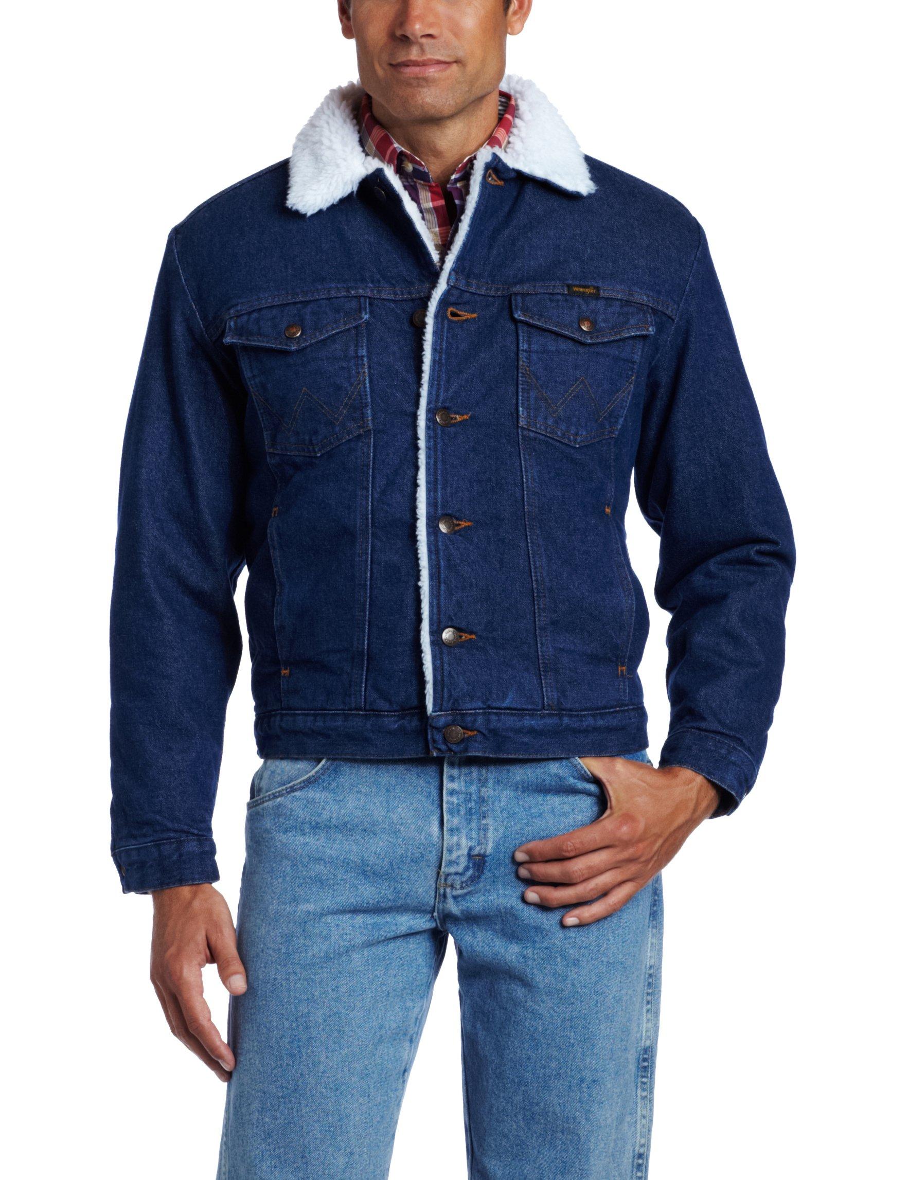 Wrangler Men's Sherpa Lined Denim Jacket, Denim/Sherpa, X-Large by Wrangler