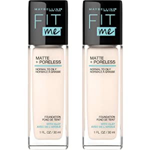 Maybelline Fit Me Matte + Poreless Liquid Foundation Makeup, Fair Porcelain, 2 COUNT