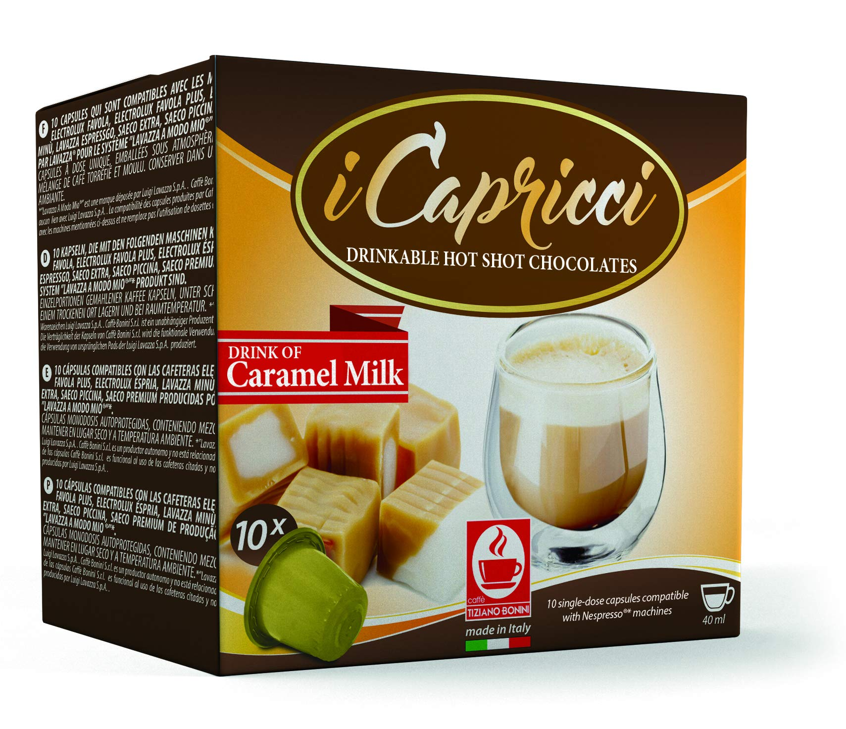 Gourmet Italian Hot Chocolate Capsules compatible with all Original Line Nespresso Machines, from Caffe Bonini