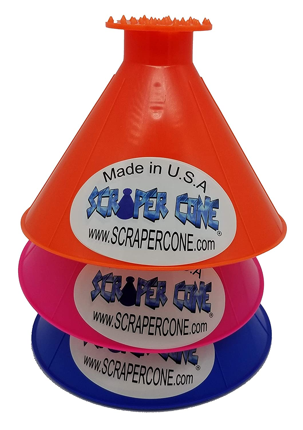 Snow Removal Made in The USA and Sold from The USA Frost Removal Funnel Shaped SCRAPER CONE 3 Pack of The Original Ice Scraper