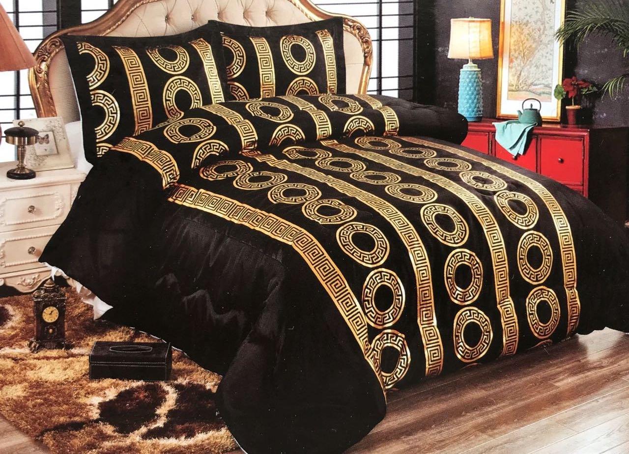 Bavary Medusa Versac Tagesdecken Set 3 TLG. Elegant und Stillvoll Neuheit und Luxus (Schwarz Gold)