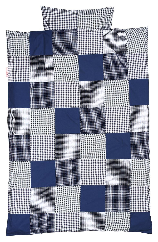 Taftan Patch Checks Duvet Cover Set 100 x 135cm for Cot (Dark Blue) BabyCenter DS-193