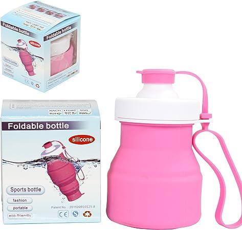 Sidiou Group Proteína Gimnasio Wiggler BPA Plegable Libre para Viaje al Aire Libre Silicona cantimplora de Deporte 520ml