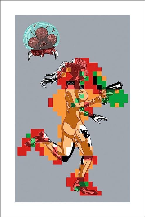 Amazon Com Plaid Design Metroid Samus Aran Fine Art Print