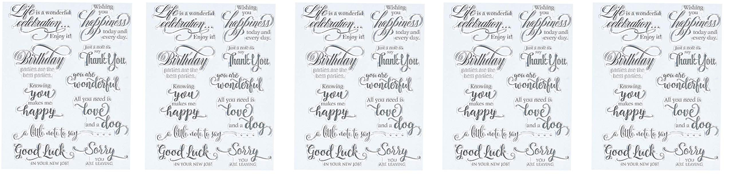 Penny Black 30-350 N/A Clear Stamps 5''X7''-Sentiment Collection (5-Pack)