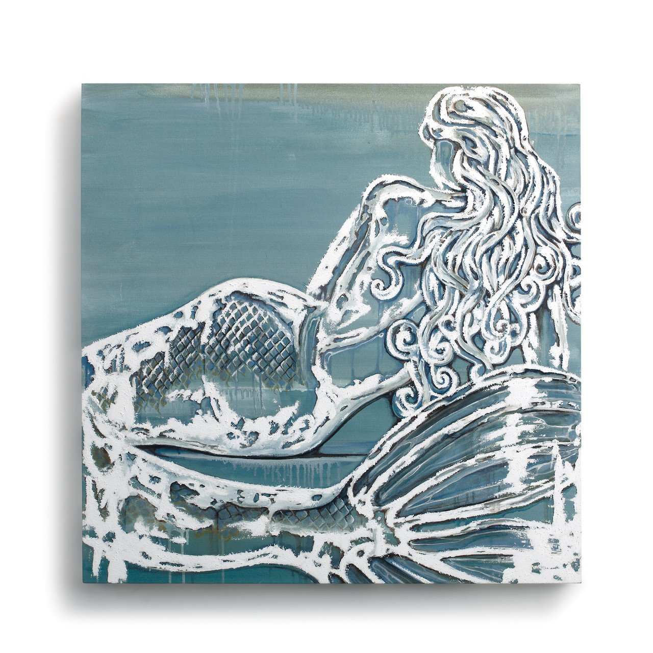 DEMDACO Mermaid Nautical Blue 24 x 24 Canvas and Wood Composite Decorative Wall Art Sign
