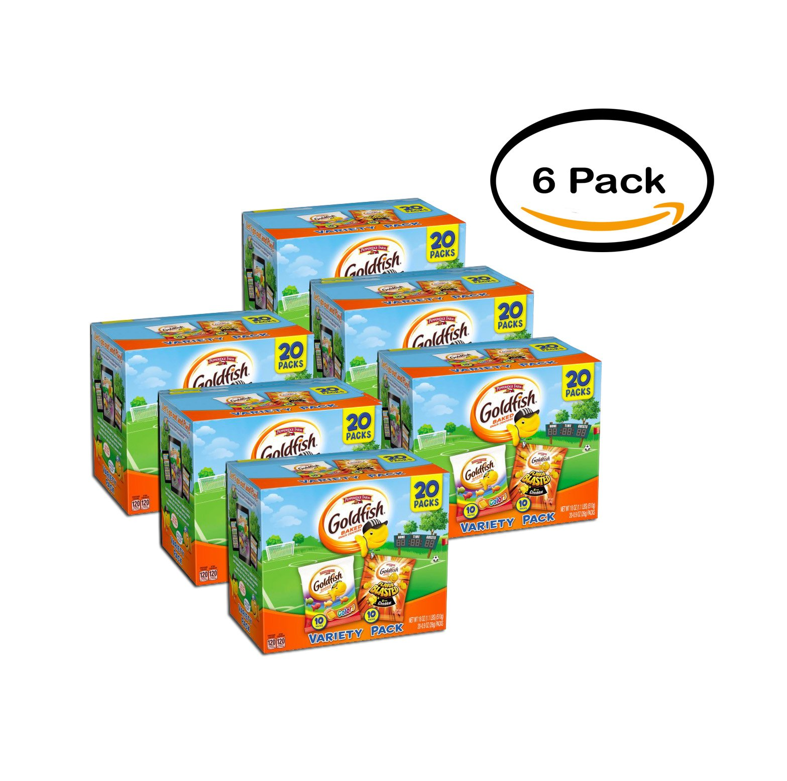 PACK OF 6 - Pepperidge Farm Goldfish Colors/Flavor Blasted Xtra Cheddar Baked Snack Crackers Variety Pack 20 ct Box by Pepperidge Farm