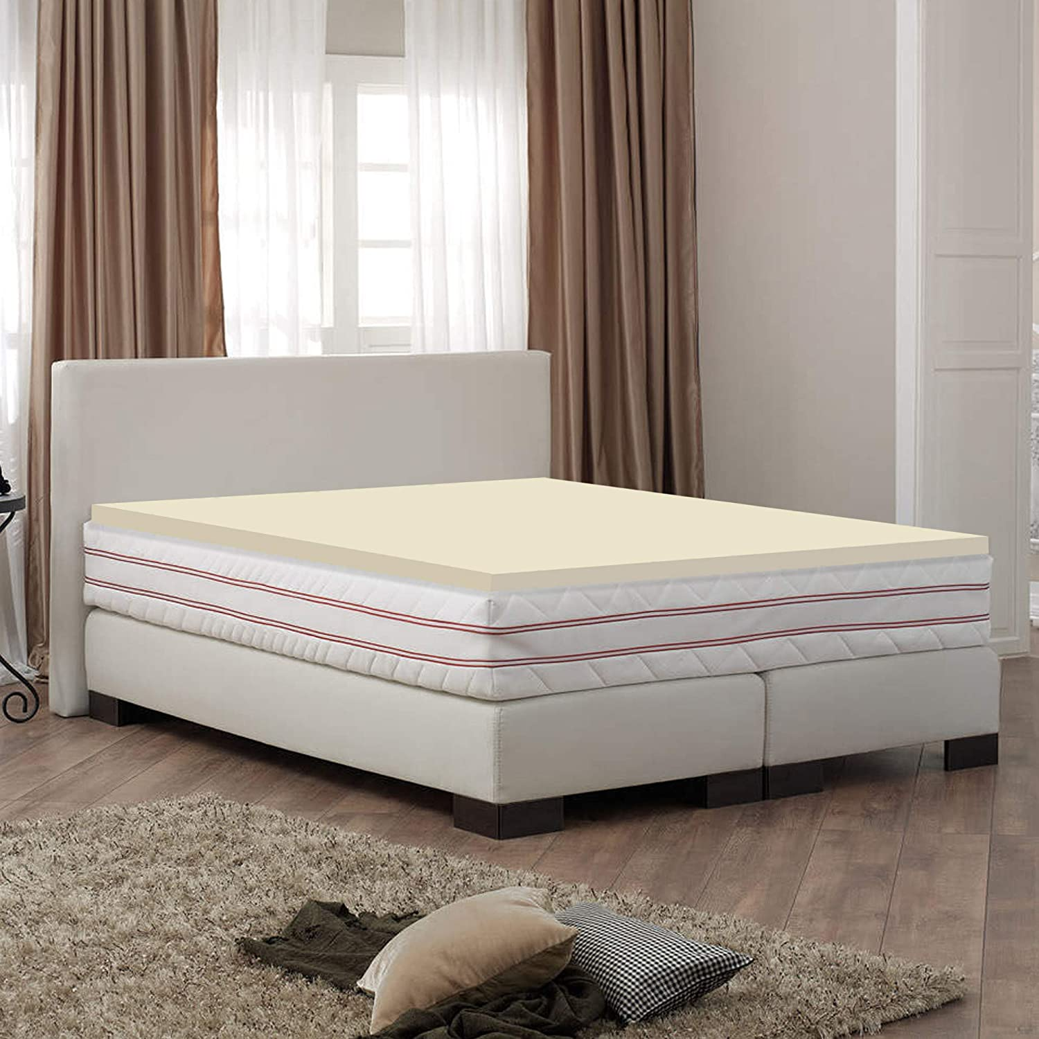 Greaton High Density Foam Topper,Adds Comfort to Mattress, King Size