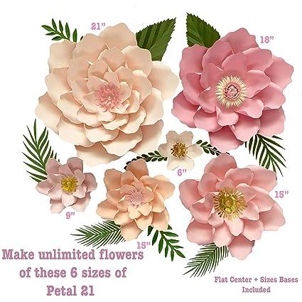 Amazon Com 6 Sizes Petal 21 Paper Flower Templates Flat Centers
