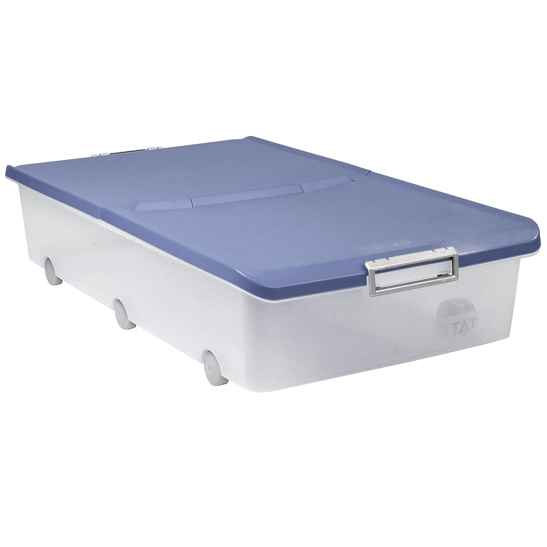 Práctica caja de almacenamiento bajo cama con ruedas y 63l de capacidad. Opción de colores.
