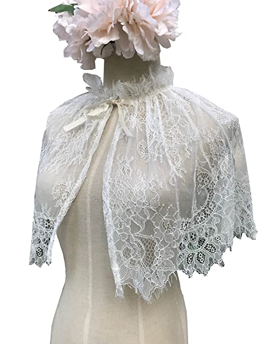 Vintage Inspired Wedding Accessories YuRong Bridal Lace capelet Tulle Lace Cape Cover Up for Strapless Wedding Dress C01a $14.99 AT vintagedancer.com