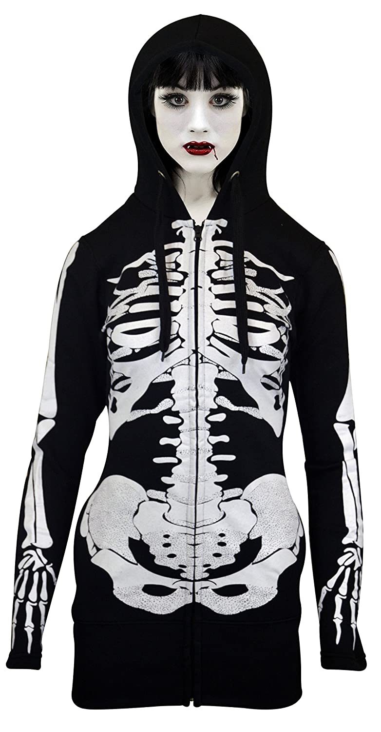 Women Open Face Skeleton Hoodie Sweatshirt Halloween Costume Long Hoodie Black SkylineWears