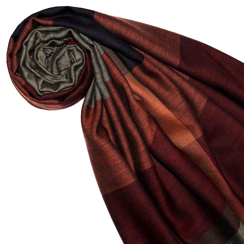 Lorenzo Cana XXL Damen Schaltuch 90 cm x 190 cm Baumwolle mit Wolle Umschlagtuch Naturfaser Pashmina Schal Naturfaser Markenschal harmonische rot Farben gewebt 78450