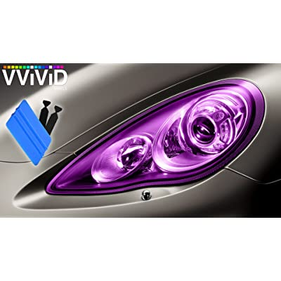 VViViD Air-Tint Extra-Wide Headlight Taillight Vinyl Tint Wrap 16 Inch x 48 Inch Roll Including 3M Blue Squeegee & 2X Black Felt Edge Decals (Purple): Automotive