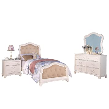 Amazon.com: Acme Furniture Ira 4-Piece Tufted Bedroom Set in White ...