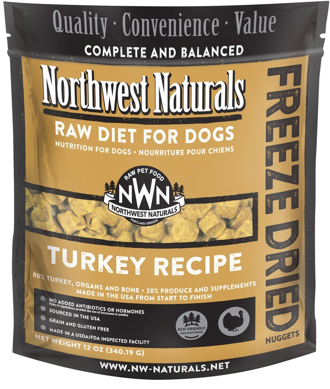Raw Retwards Northwest Naturals Freeze Dried N ets Cena for Dogs (Tur a) 12 OZ